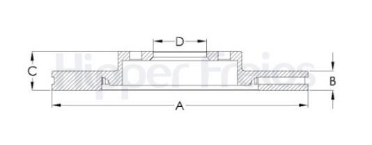 Disco de Freio Hipper Freio (HF) - Eixo Dianteiro - LAND ROVER Freelander II / Range Rover / VOLVO S60 / S80 / V60 / XC70 - HF403D (Ventilado e Sem Cubo)