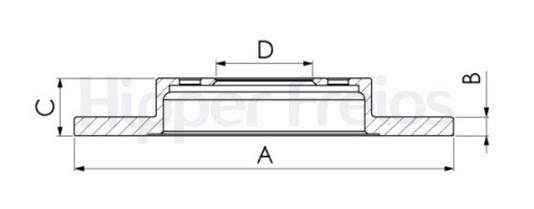 Par de Discos de Freio Hipper Freios (HF) - Eixo Traseiro - AUDI A3 / TT / VOLKSWAGEN (VW) Bora- HF83B (Sólido e Sem Cubo)