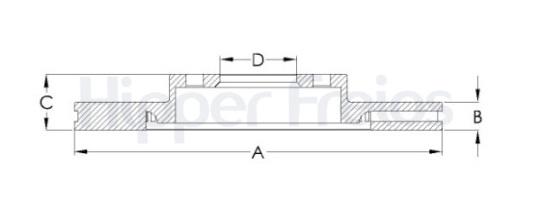 Par de Discos de Freio Hipper Freios (HF) - Eixo Dianteiro - AUDI A4 / VOLKSWAGEN Passat / Variant - HF84C (Ventilado e Sem Cubo)