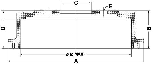 Tambor de Freio FREMAX - Eixo Traseiro - TOYOTA Hilux - BD5191 (Tambor de Freio Sem Cubo)