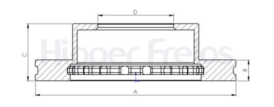 Disco de Freio Hipper Freios (HF) - Eixo Dianteiro - FORD F1000 - HF16A (Ventilado e Sem Cubo)