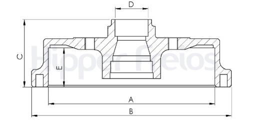 Tambor de Freio Hipper Freios (HF) - Eixo Traseiro - GM Corsa / Corsa Sedan / Corsa SW - HF24B (Tambor de Freio com Cubo)