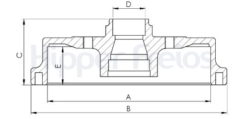 Tambor de Freio Hipper Freios (HF) -  GM Agile / Celta / Classic / Corsa / Tigra - Traseiro - HF24 (Tambor de Freio com Cubo)