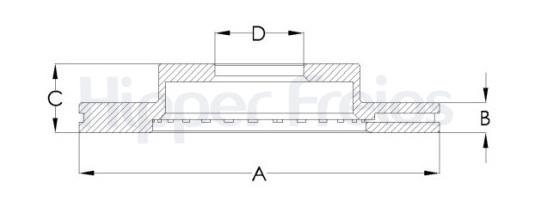 Par de Discos de Freio Hipper Freios (HF) - Eixo Dianteiro - GM Geo Prizm - TOYOTA Corolla - HF501 (Ventilado e Sem Cubo)