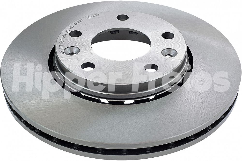 Disco de Freio Hipper Freios (HF) - Eixo Dianteiro - RENAULT Captur / Duster / Duster Oroch / Fluence - HF571 (Ventilado e Sem Cubo)