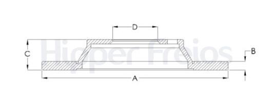Disco de Freio Hipper Freios (HF) - Eixo Traseiro - KIA Mohave - HF359B (Sólido e Sem Cubo)