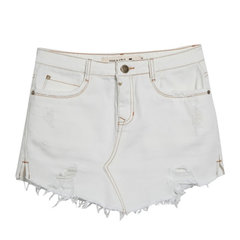 Saia Jeans Salamanca Off White Rosa Chá