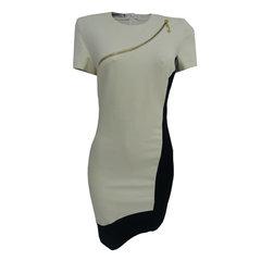 5a25bce0c Vestido Bicolor Detalhe em Zíper Off White e Preto C.Club