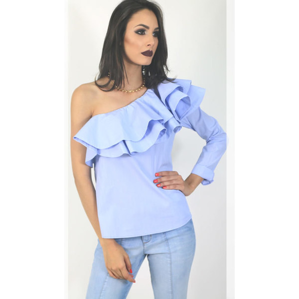 73fd38ffe MacroFashion - Blusa Um Ombro Listrado Azul Claro Chocoleite