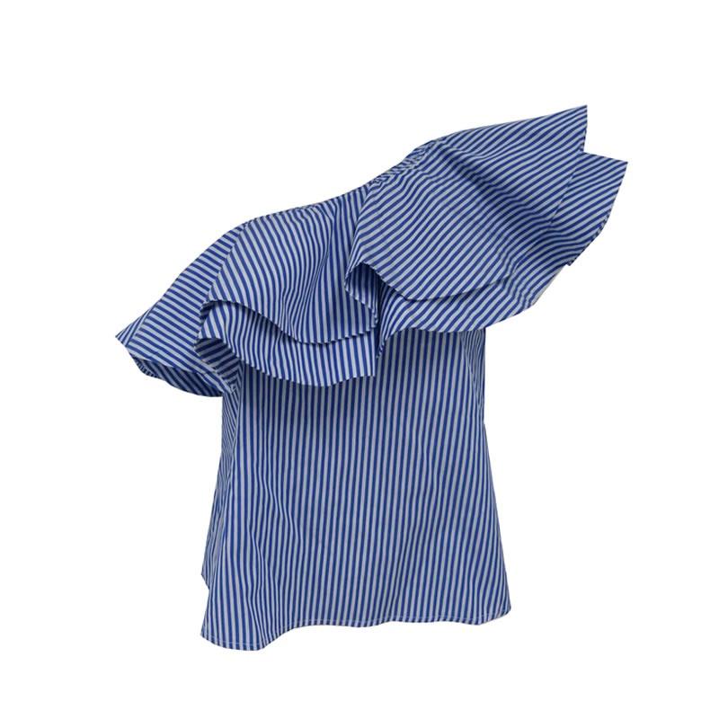 194bdfd5a MacroFashion - Blusa Um Ombro Listrado Azul Chocoleite