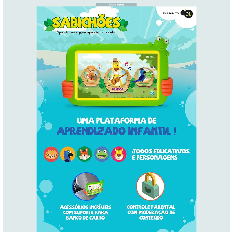 Tablet 7 Polegadas DL Sabichões 8GB Quad-Core Android 7.0 Wifi - Suporte Encaixa no Banco do Carro